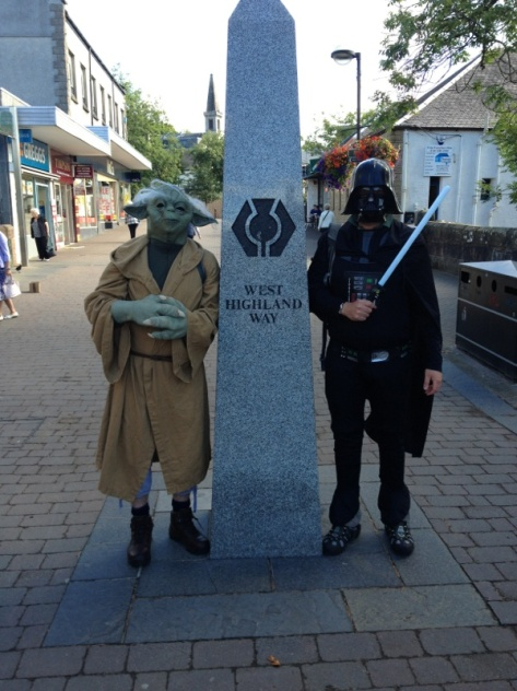 Tom (left) and Adam, dressed as Yoda and Darth Vader