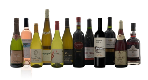 A traditional case of 12 mixed wines including fizz and port.